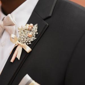 Blush Pink Wedding Groom Boutonniere