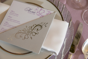 Events by TMA Lavender & Silver Springtime Wedding Menu Cards