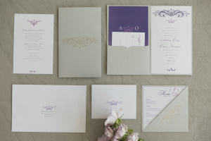 Events by TMA Lavender & Silver Springtime Wedding Invitations