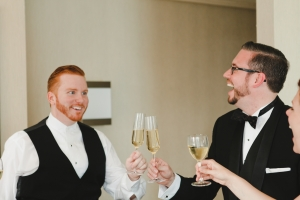 Art Deco Wedding Groom Champagne Toast