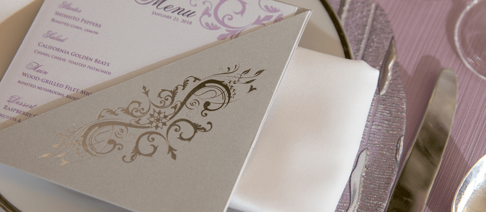 Events by TMA Lavender Silver Wedding Menu Cards